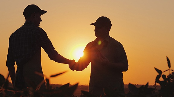 Silhouette of two farmers shaking hands